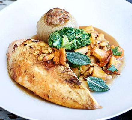 Pot-roast pheasant with pearl barley & stuffed onions