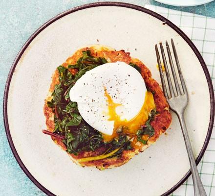 Potato pancake with egg and chard on plate