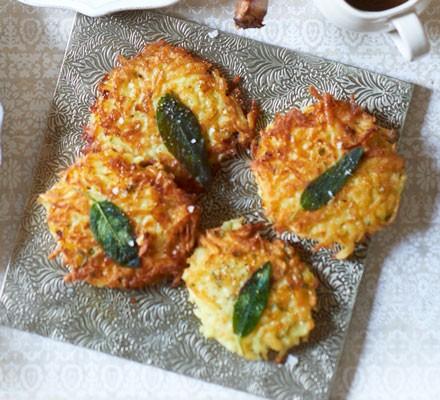 Potato rösti cakes with sage leaves
