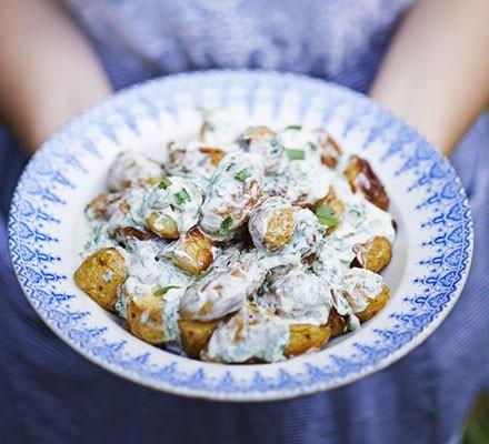 Roast new potato salad with caper & tarragon dressing