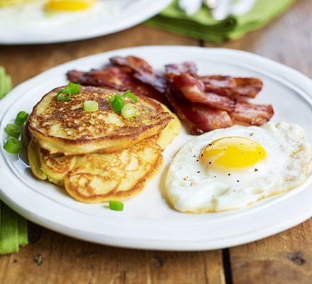 Potato & spring onion breakfast pancakes