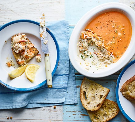 Potted crab served in a dish