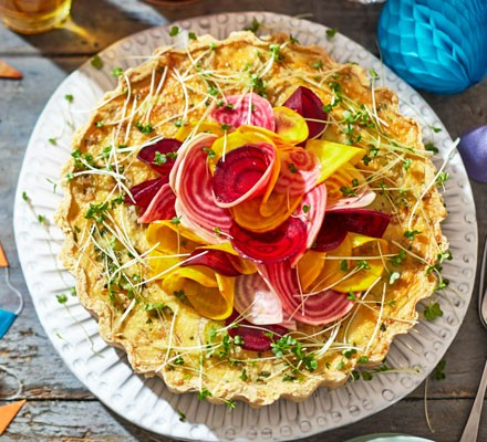 Potted shrimp tart with shaved rainbow beet salad