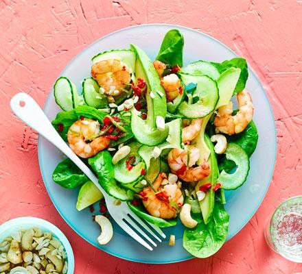 Prawn, avocado & cucumber salad