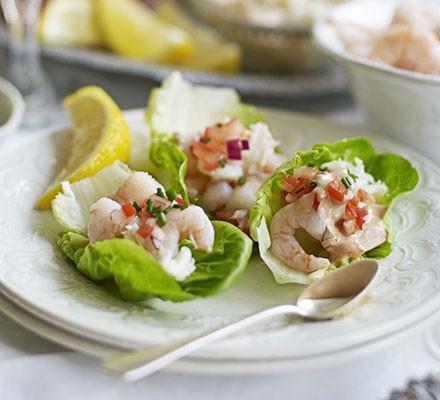 Prawn & crab cocktail lettuce cups