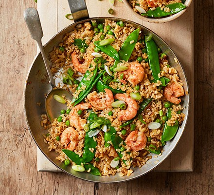 Prawn fried rice served in a frying pan