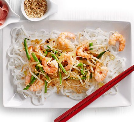 Prawn Rice Noodle Stir Fry Recipe Bbc Good Food