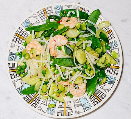 Sesame prawn & smacked cucumber rice noodles served on a plate