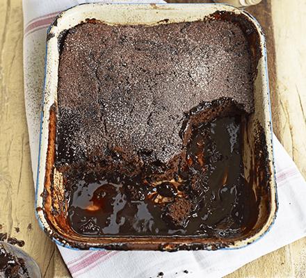 Boozy self-saucing chocolate pud