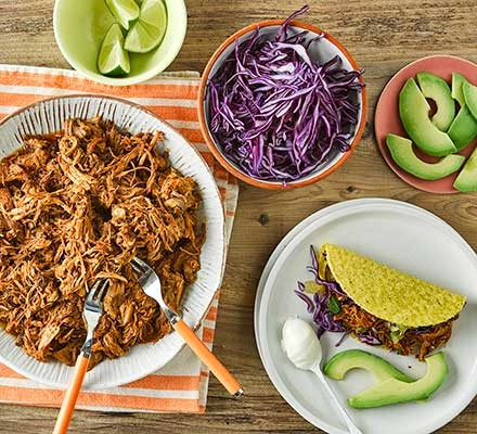 The ingredients for pulled pork tacos with pineapple salsa