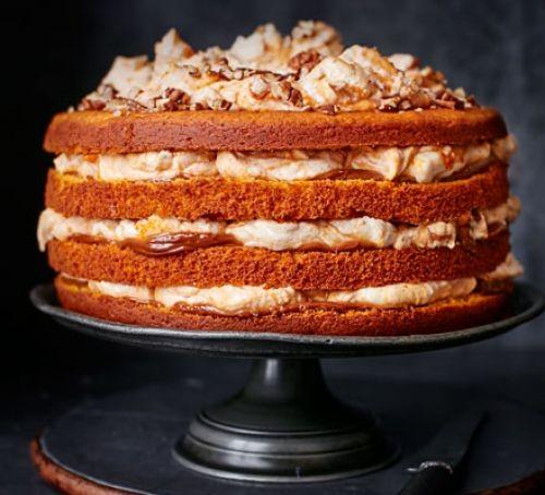 Layered pumpkin cake with caramel cream filling