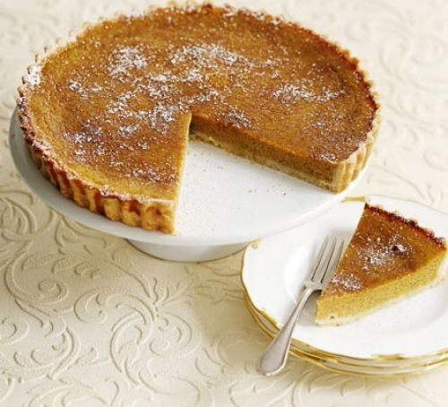 Pumpkin pie with a slice taken out