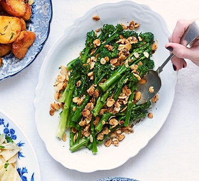Purple sprouting broccoli with almonds