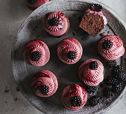 Purple velvet cupcakes with blackberry frosting