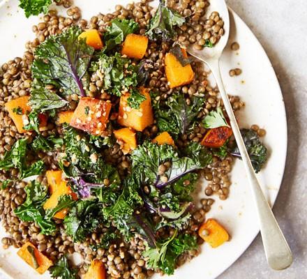Puy lentils, squash & kale 2016