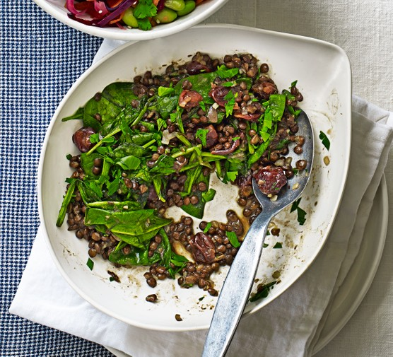 Puy lentils with spinach & sour cherries