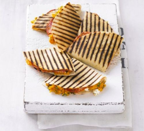 Griddled quesadillas filled with sweet potato and chorizo