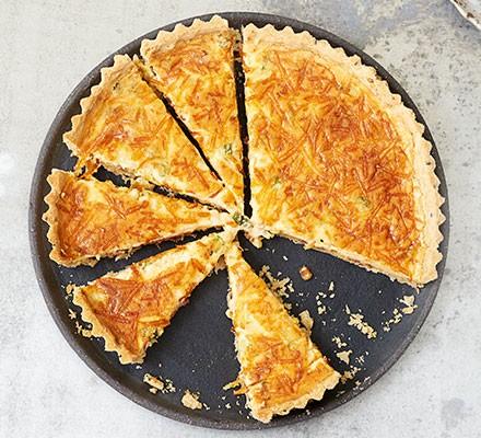 Next level quiche Lorraine, cut into slices