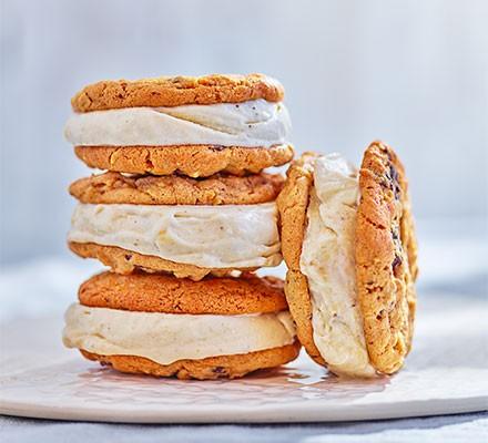 Four banana ice cream sandwiches