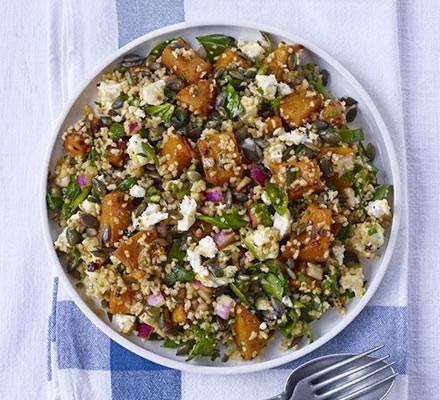Squash, feta & bulgur salad