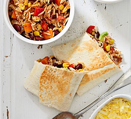 Chicken burrito with Mexican-style rice and beans