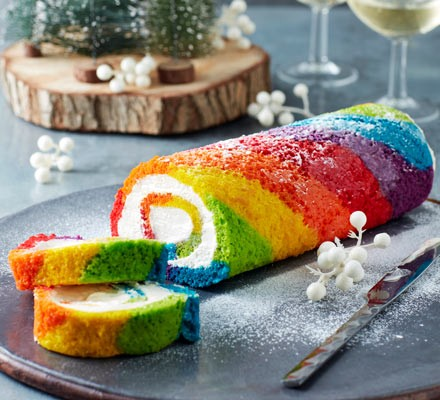 Rainbow yule log