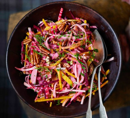 Rainbow beet slaw with pecans & maple dressing