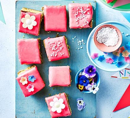 Raspberry & pistachio tea cake squares