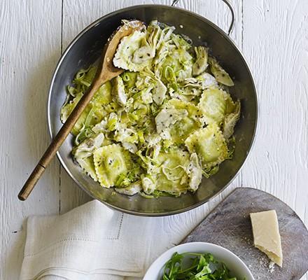 Ravioli with artichokes, leek & lemon