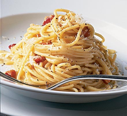 Close up of perfect spaghetti carbonara on a plate ready to eat