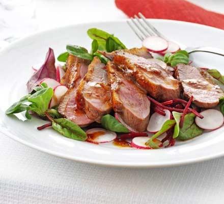Smoky maple duck salad
