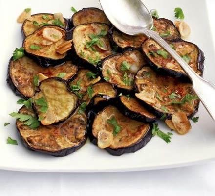 Aubergines with garlic & herb dressing