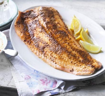 Spiced roast side of salmon