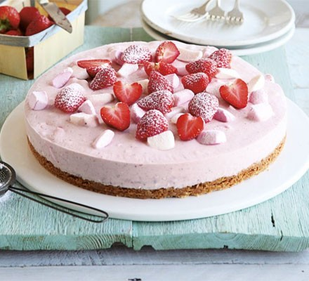 Strawberry-mallow cheesecake on a serving plate