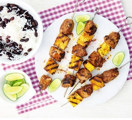 Jerk pork & pineapple skewers with black beans & rice