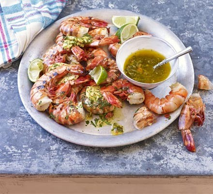 Barbecued prawns with chilli, lime & coriander butter