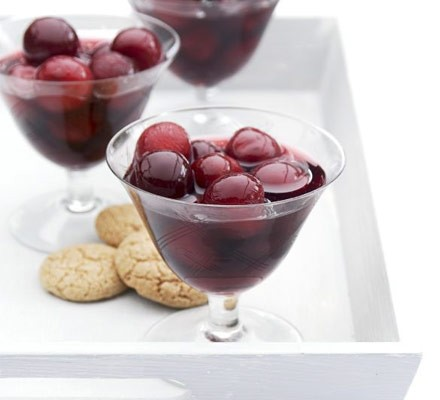 Cherries in rosé wine & vanilla syrup