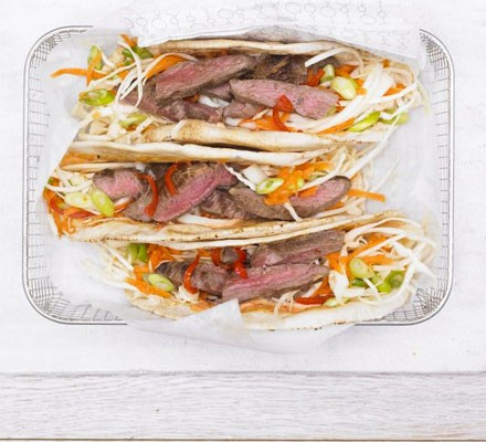 Hot cumin lamb wrap with crunchy slaw & spicy mayo