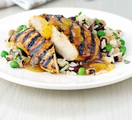 Rice & peas with mango chicken