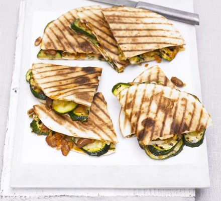 Grilled courgette, bean & cheese quesadilla