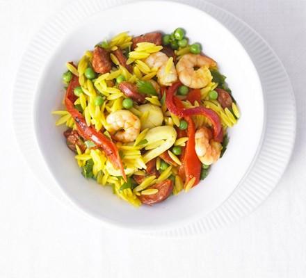 Spanish seafood pasta