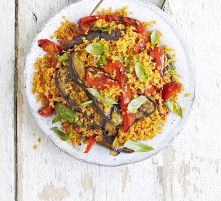 Charred aubergine, pepper & bulgur salad