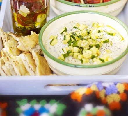 Minty bean & courgette dip with pitta crisps