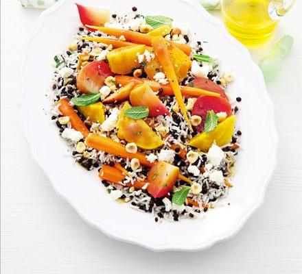 Lentil rice salad with beetroot & feta dressing