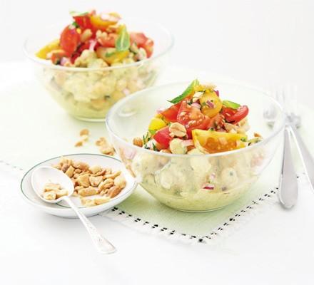 Chicken & chickpea salad with curry yogurt dressing