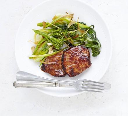 Hoisin pork with garlic & ginger greens