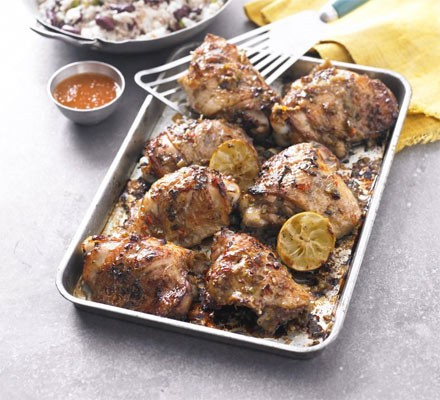 Jerk chicken on an oven tray