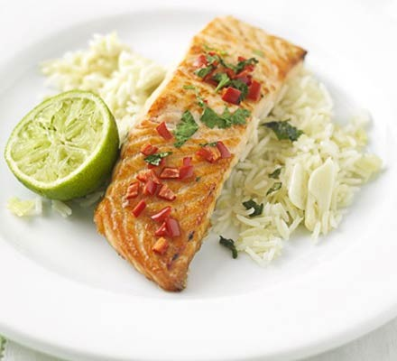 Grilled chilli & coriander salmon with ginger rice