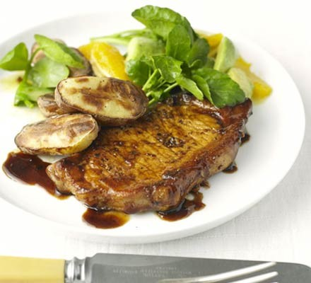 Balsamic pork with watercress