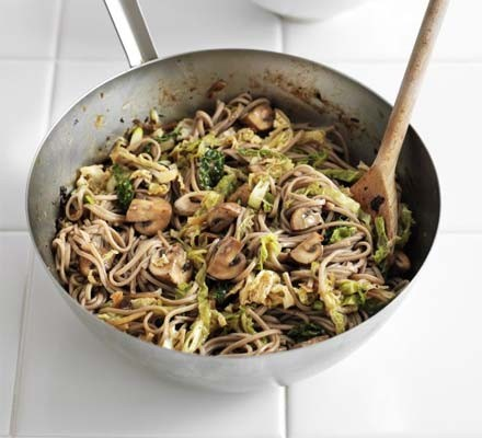 Black bean soba noodles with mushrooms & cabbage